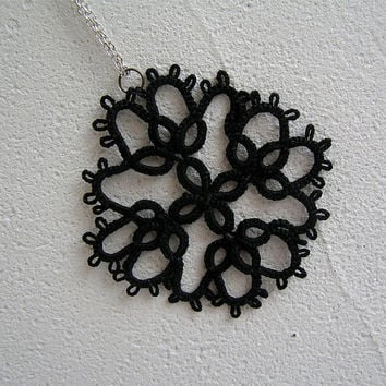 Tatted Lace pendant Frivolite Handmade Art Collectibles Fiber Arts Tatting Lace snowflake holiday gift Fibre  steampunk Necklace