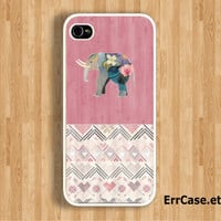 The Elephant on Pink Wood and Sweety Heart Design: Iphone 4/4s case Iphone 5 case