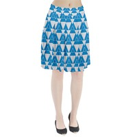 Blue & White Triangle Pattern Pleated Skirt