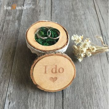 Vintage Rustic Wooden Ring Box
