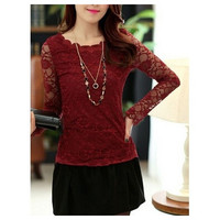 New Arrival Summer Fashion Lace Long Sleeve O-Neck Pullover Plain Womens T-Shirts