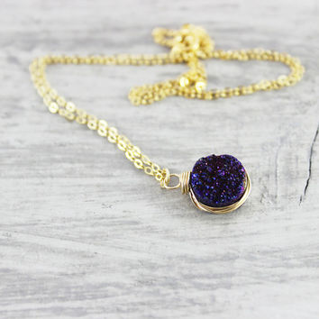 Royal Blue Druzy Necklace, Wire Wrap Necklace, Small Circle Pendant Necklace, Dark Blue Necklace, Druzy Gemstone Necklace, Gold Necklace
