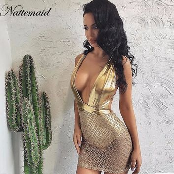 NATTEMAID Sexy Hot Mesh Sleeveless Sequin Dress Women Deep V Neck Bodycon Club Wear Night Out Glitter Dresses For Party Vestidos