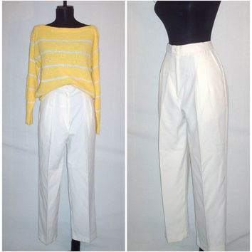 Vintage 1980s High Waist Ivory Pleated Trouser