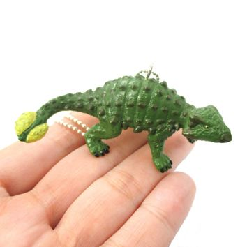 Armored Dinosaur Euoplocephalus Shaped Pendant Necklace in Green | Animal Jewelry