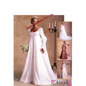 Renaissance Faire wedding dress gown Costume history McCalls 2645 sewing pattern plus size UNCUT Sz 20 to 24
