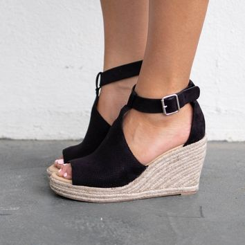 Out With Friends Black Espadrille Wedges