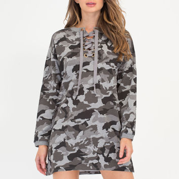 Cool In Camo Lace-Up Sweatshirt Dress