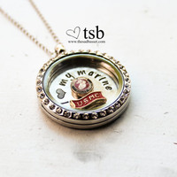 USMC Floating Locket - Military Jewelry, Memory Locket, Charm Locket, USMC Jewelry, Marine Corps Jewelry, I Love My Marine, Custom Locket