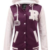 Mymixtrendz Women's Baseball Hooded Top Bomber Jersey Jacket