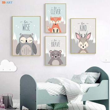 Woodland Nursery Prints Wall Art Woodland Animals Canvas Painting  Kid Bedroom Art Fox Bear Owl Deer Print Framed Wall Decor