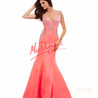 Cassandra Stone by Mac Duggal 65029A Neon Coral Lazer Cut Detailed Dress 2015 Prom Dresses