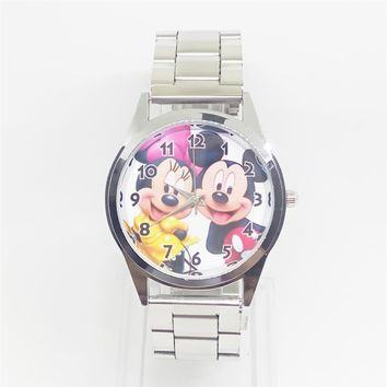 Kids stainless steel cartoon mouse quartz watch women dress wrist watches men mickey minnie clock for ladies girls female boys