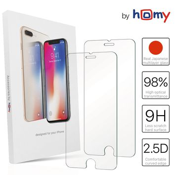 [2-Pack] Screen Protectors for iPhone 8 Plus / 7 Plus / 6S Plus / 6 Plus 5.5 inch Japanese Tempered Glass Ultra Clear 2.5D thin bubble free case friendly by Homy