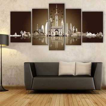 Free Shipping E-HOME Reflection of European Architectural Water Clock in Canvas 5pcs wall clock