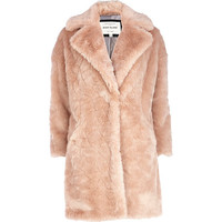 River Island Womens Light pink faux fur oversized coat