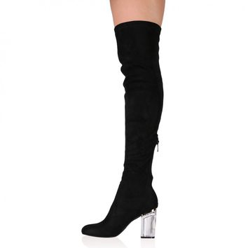 Parker Perspex Heeled Long Boots in Black Faux Suede