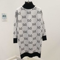 ONETOW GUCCI new autumn and winter double g letter turtleneck joker sweater White