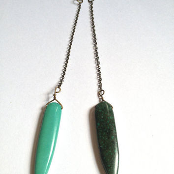 Extra Long Turquoise Magnesite Chain Earrings