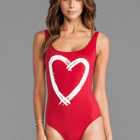 Kamali Kulture by Norma Kamali Low Back One Piece in Red Heart