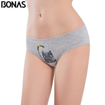 BONAS Low Rise Cotton Women's Briefs Cat Printing Style Female Seamless Sexy Underwear Elasticity Spandex Pink Panties Plus Size