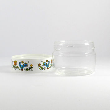 Vintage 1970s Corning Ware Pyrex Country Festival Birds See and Store Container Glass Canister