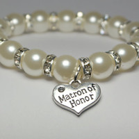 will you be my - matron of honor gift - ask to be bridesmaid - wedding bracelet - bridal party gift - wedding keepsake - handmade bracelet