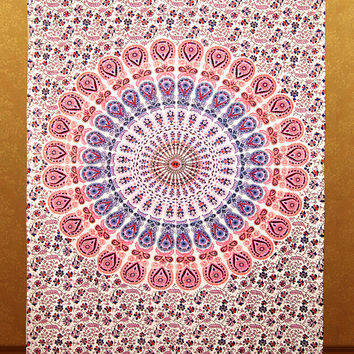 Twin Mandala Tapestry Wall Hanging Mandala Tapestries Hippie Tapestries Wall Art, Bohemian Dorm Tapestries