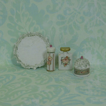 Dollhouse Miniature Elegant Round Tray with Three Bottles