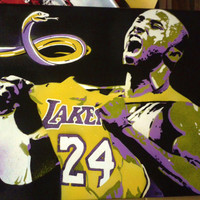 Kobe Bryant stencil art painting on canvas,black mamba,basketball,lakers,los angeles,spray paints,graffiti,snake,sport,housewares,24,streets