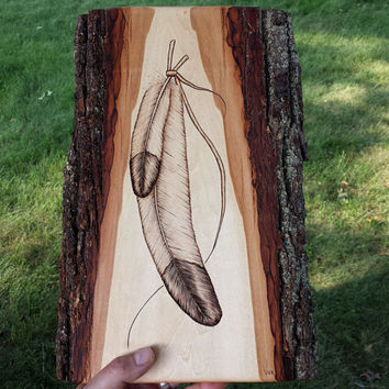 Wood Art Feather Decor, Feather Pyrography, Tribal Feather Wall Hanging, Rustic Bald Eagle Feather