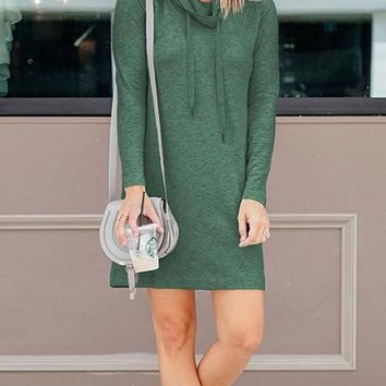 New Green Drawstring Cowl Neck Long Sleeve Casual Sweatshirt