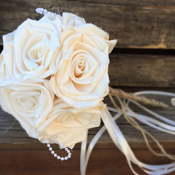 Toss Bouquet, Wedding, Burlap Bouquet, Wedding Burlap Bouquet, Burlap Bouquet Wrap, Rustic Burlap Bouquet, Burlap, Wedding, Bride, Groom