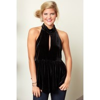 Fringe Out With The Old Black Velvet Halter Top