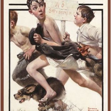 NO SWIMMING vintage painting art poster NORMAN ROCKWELL animated FUNNY 24X36