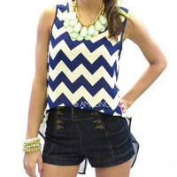 Atlantic Blue Chevron Hi Low Navy Top