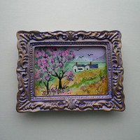 Dolls House Miniature,watercolour,Lilac n Gold Shabby Chic Frame,Landscape Art