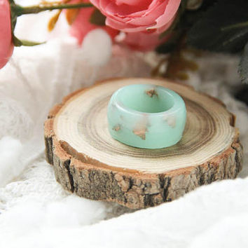 Pastel Mint Resin Ring With Copper Flakes, Teal Resin Ring, Candy Resin Ring, Statement Resin Ring, Cocktail Resin Ring