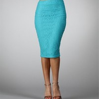 Teal Lace Pencil Skirt