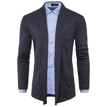 Gray Sweater Men New Shawl Collar Sweater Slim Fit Men Knitted Cardigans Sweaters Male Casual Chompas Para Hombre