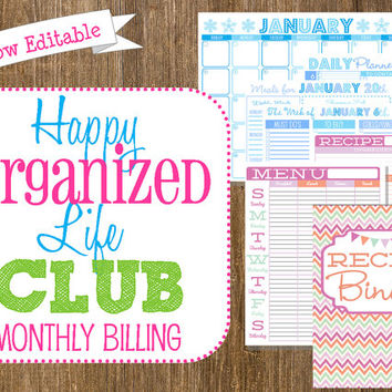 EDITABLE Home Organization Subscription Club-Monthly Billing-New Printables Every Month