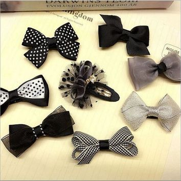 8pcs/lot Grey bowknot baby girls kids hair clips