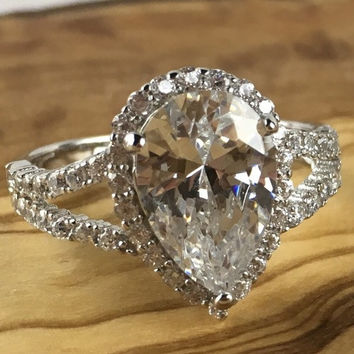 best moissanite pear engagement ring products on wanelo. Black Bedroom Furniture Sets. Home Design Ideas