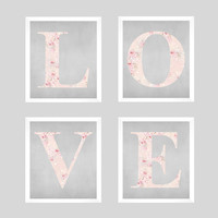 Set of Love Letters Shabby Chic Pink Roses CUSTOMIZE YOUR COLORS 8x10 Prints, set of 4 nursery decor nursery print art baby room decor kids