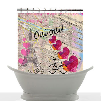 Artistic Shower Curtain - Oui Oui Paris, France, pink, map,hearts, music, travel, Bicycles, art, decor, bath, home