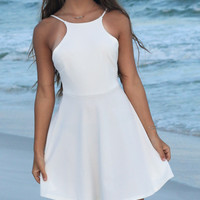 Glamour Ivory Open Back Dress