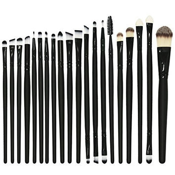 BeautyKate Set of 20 pieces Professional Makeup Brushes Set Powder Foundation Eyeshadow Eyeliner Lip Full Cosmetics Brush Set (Black)