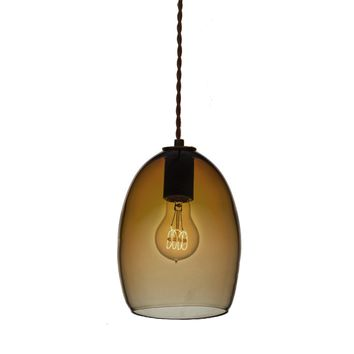 Hand Blown Amber Glass Pendant Light