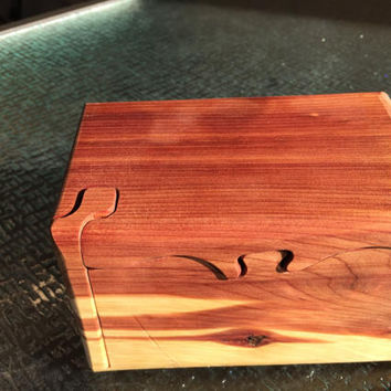 Handcrafted 4 Piece Red Cedar Puzzle Box
