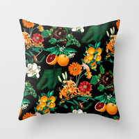 Fruit and Floral Pattern Throw Pillow by burcukorkmazyurek
